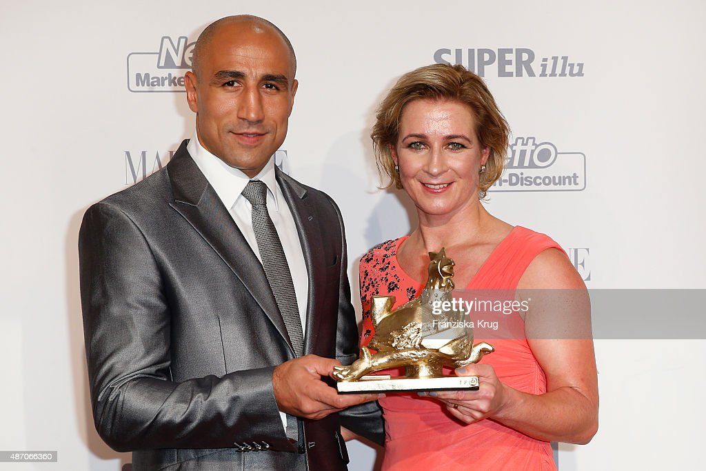 Arthur Abraham and Claudia Pechstein attend Madeleine At Goldene Henne 2015 on September 05, 2015 in Berlin, Germany.