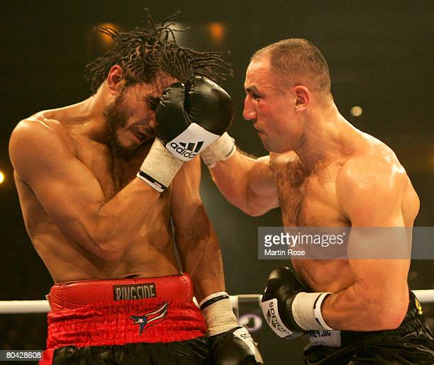 Arthur Abraham of Germany and Elvin Ayala of USA in action during the IBF World Championship Middleweight fight between Arthur Abraham and Elvin...