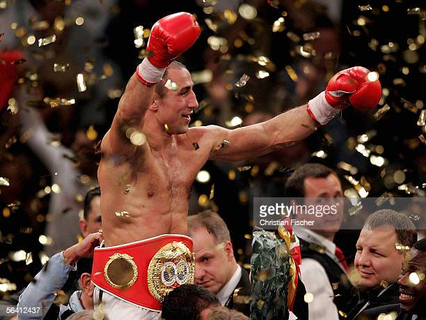 Arthur Abraham of Germany celebrates after winning the IBF World Championship middleweight fight against Kingsley Ikeke of Canada at the Arena of...