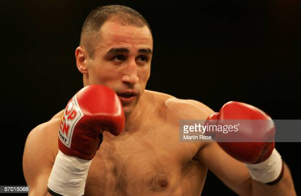 Arthur Abraham of Germany seen in action during the IBF world championship middleweight fight between Arthur Abraham of Germany and Shannon Taylor of...