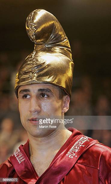 Arthur Abraham of Germany seen with a golden hat during the IBF world championship middleweight fight between Arthur Abraham of Germany and Shannon...