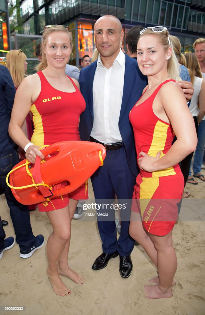 Arthur Abraham with life guards during the Baywatch European Premiere Party on May 31, 2017 in Berlin, Germany.