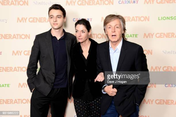 Arthur Alistair Donald Mary McCartney and Sir Paul McCartney attend the My Generation special screening at BFI Southbank on March 14 2018 in London...