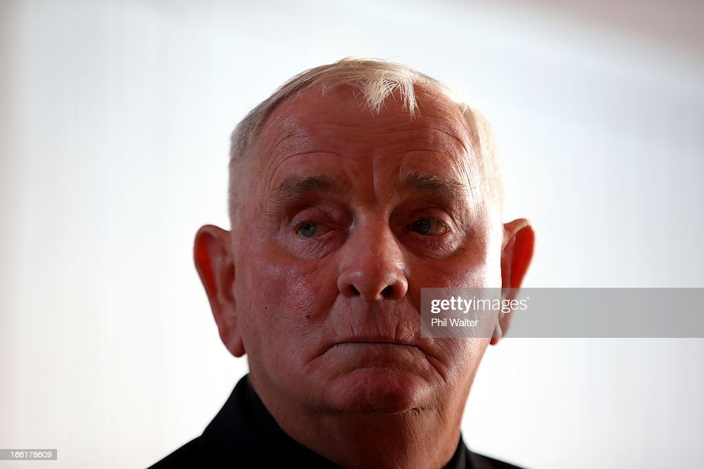 Arthur Allan Thomas speaks during a press conference at the Pukekawa Hall on April 10, 2013 in Auckland, New Zealand. Arthur Allan Thomas was pardoned for the 1970 murder of Jeanette and Harvey Crewe and addressed the media following comments recently regarding the integrity of the late police prosecutor Bruce Hutton.