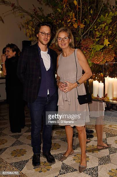 Arthur Arbesser and Inga Griese attend the ICON 10 anniversary cocktail canapes party at Palazzo Cagnola on November 9 2016 in Milan Italy