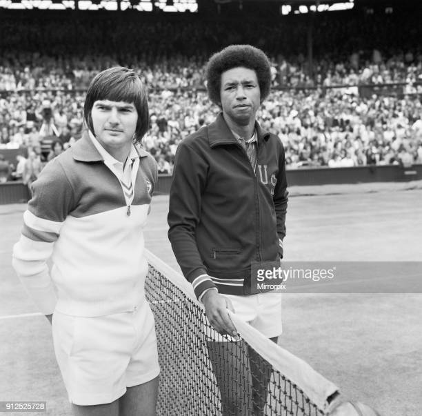 Arthur Ashe and Jimmy Connors before their match in the 1975 men's singles Wimbledon final which Ashe won 6-1, 6-1, 5-7, 6-4 6th July 1975.