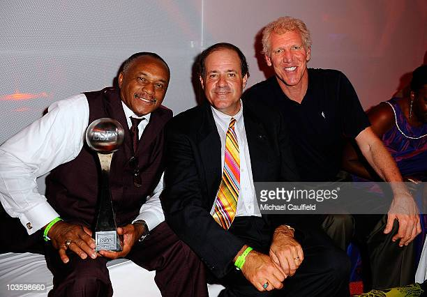 Arthur Ashe Award for Courage recipient Tommie Smith ESPN personality Chris Berman and former NBA player Bill Walton the after party for the 2008...