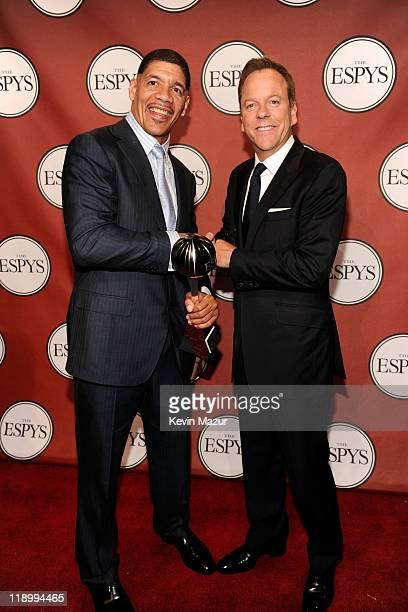 2011 Arthur Ashe Award Recipient Dewey Bozella and actor Kiefer Sutherland pose backstage at The 2011 ESPY Awards held at the Nokia Theatre LA Live...
