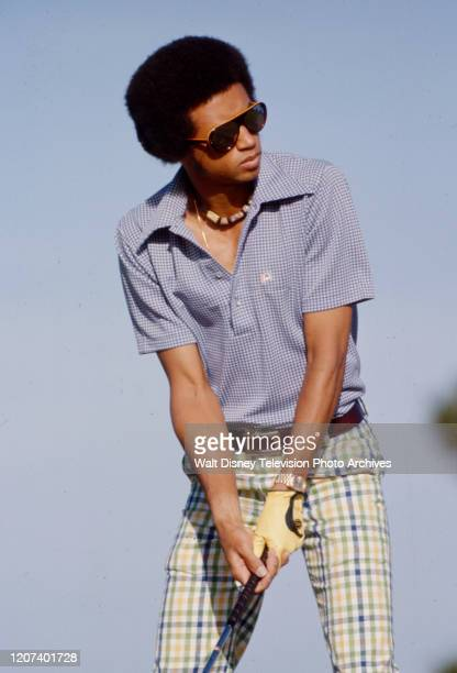 Arthur Ashe competing in golfing competition on the ABC tv series 'Superstars'.