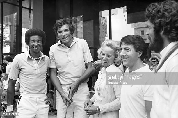 Arthur Ashe, Dave DeBusschere, Ethel Kennedy, Dustin Hoffman and Tom Gorman attends a promotional event on Park Avenue for the RFK Pro-Celebrity...