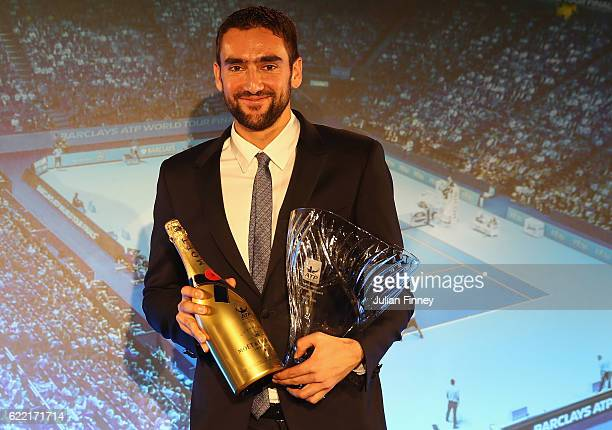 Arthur Ashe Humanitarian of the Year is Marin Cilic of Croatia at the Cutty Sark on November 10 2016 in London England