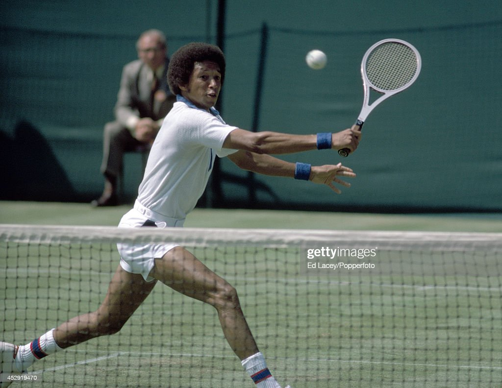 Arthur Ashe of the United States in first-round action at Wimbledon, circa June 1975. Ashe, seeded sixth, went on to become Men's Singles champion.