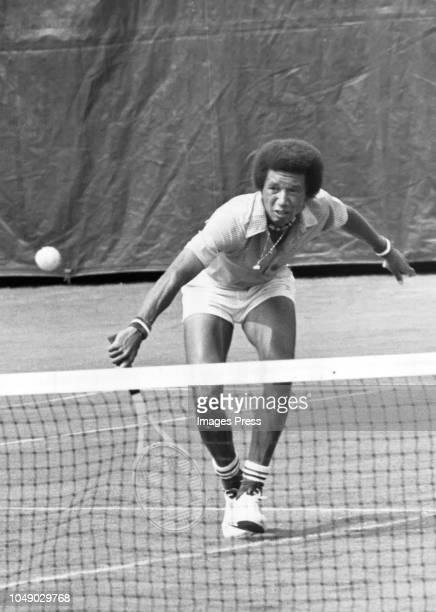 Arthur Ashe of the United States returns a shot during the Men's 1975 US Open Tennis Championships circa 1975 at Forest Hills West Side Tennis Club...