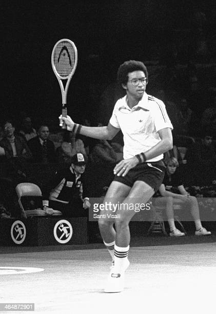 Arthur Ashe playing on January 10, 1970 in New York, New York.