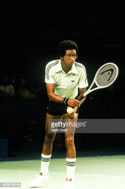Arthur Ashe playing tennis on January 10, 1979 in New York, New York.
