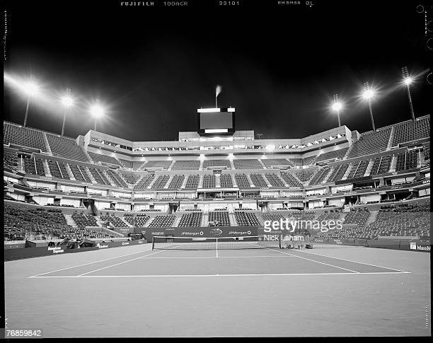 Arthur Ashe Stadium sits vacant at the conclusion of the Mens Final and the US Open at the USTA Billie Jean King National Tennis Center in Flushing...