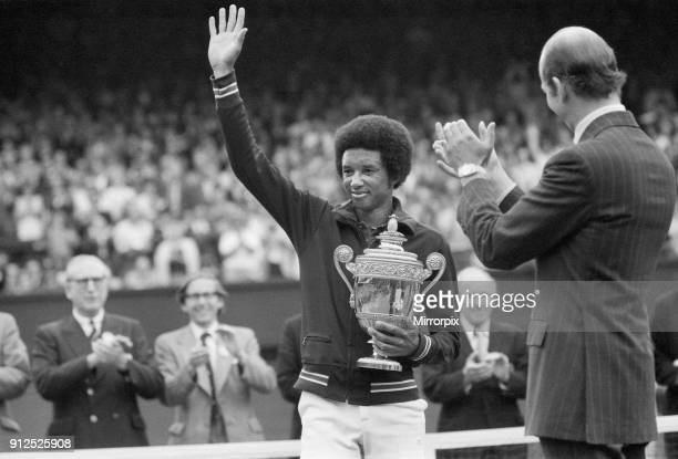 Arthur Ashe with the Wimbledon trophy after he beat the defending champion Jimmy Connors in four sets, 6-1, 6-1, 5-7, 6-4 6th July 1975.