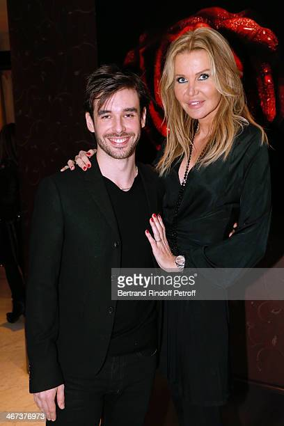 Arthur Aubert and Florentine Leconte attend the Arthur Aubert Exhibition private view Held at Le Fouquet's Barriere Hotel on February 6 2014 in Paris...