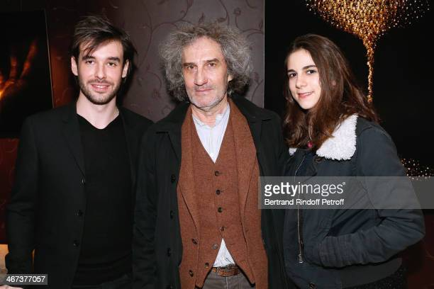 Arthur Aubert director Philippe Garel and his daughter Lena Garel attend the Arthur Aubert Exhibition private view Held at Le Fouquet's Barriere...