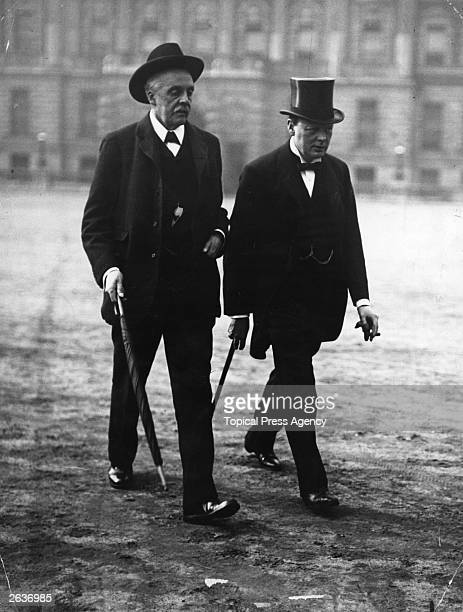 Arthur Balfour with Winston Churchill both members of the wartime Coalition cabinet Balfour inherited his family's East Lothian estate in 1856 and...