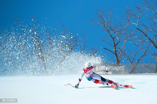 Arthur Bauchet of France competes in the Alpine Skiing Men's SuperG Standing at the Jeongseon Alpine Centre during day four of the PyeongChang 2018...