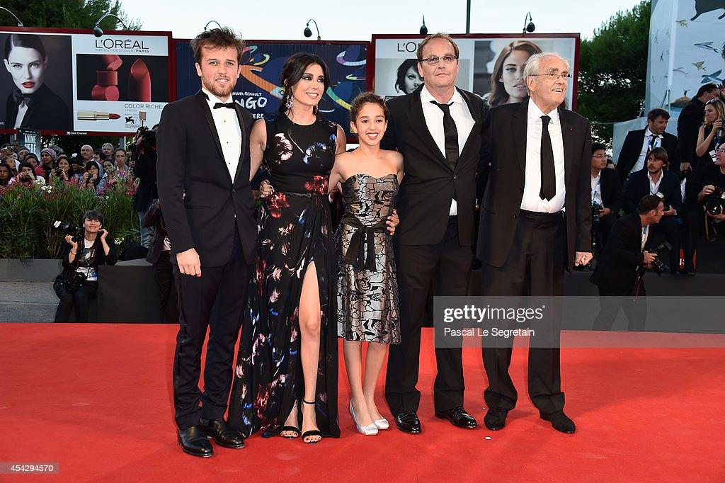 Arthur Beauvois, Nadine Labaki, Seli Gmach, director Xavier Beauvois and Michel Legrand attend the 'La Rancon De La Gloire' premiere during the 71st Venice Film Festival on August 28, 2014 in Venice, Italy.