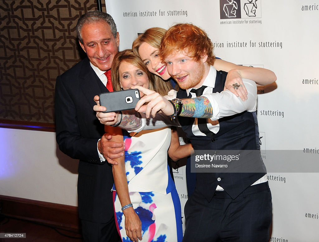 Arthur Blank, Angie Macuga, Emily Blunt, and Ed Sheeran attend the 9th Annual American Institute For Stuttering Benefit Gala at The Lighthouse at Chelsea Piers on June 8, 2015 in New York City.