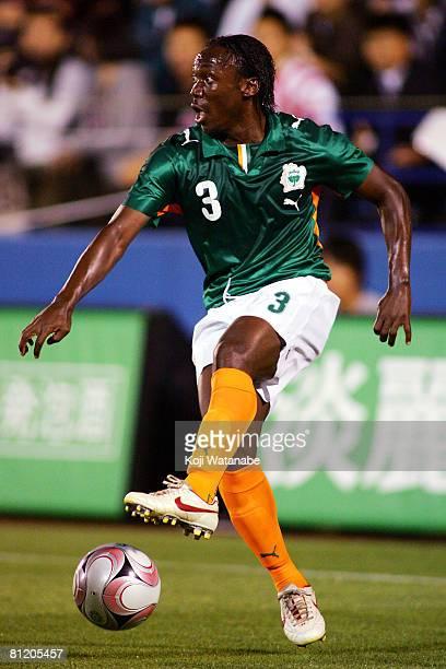 Arthur Boka of Ivory Coast in action during Kirin Cup match between Ivory Coast and Paraguay at Nippatsu Mitsuzawa Stadium on May 22 2008 in Yokohama...