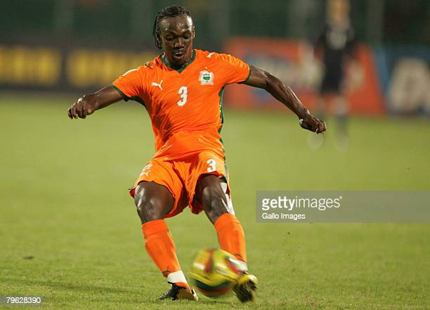 Arthur Boka of Ivory Coast plays in the AFCON semi-final match between Ivory Coast and Egypt held at the Baba Yara Stadium February 7, 2008 in...