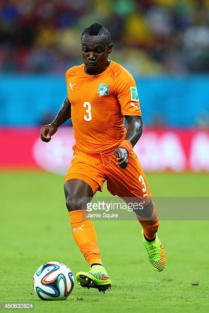 Arthur Boka of the Ivory Coast controls the ball during the 2014 FIFA World Cup Brazil Group C match between the Ivory Coast and Japan at Arena...
