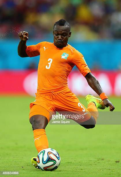 Arthur Boka of the Ivory Coast during the 2014 FIFA World Cup Brazil Group C match between the Ivory Coast and Japan at Arena Pernambuco on June 14...