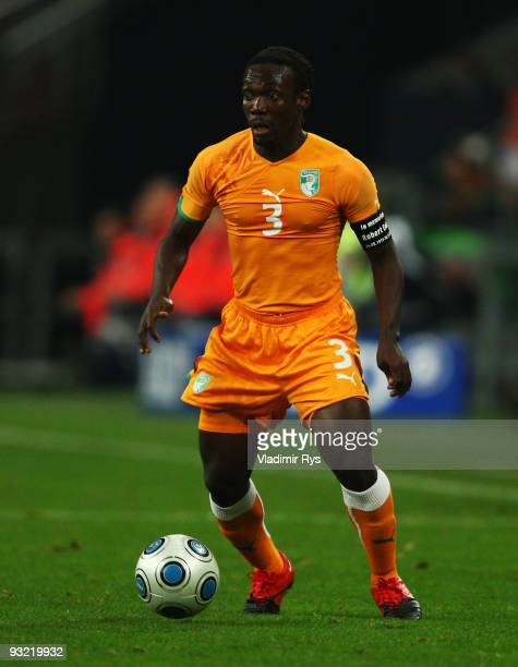 Arthur Boka of the Ivory Coast in action during the International friendly match between Germany and the Ivory Coast at the Schalke Arena on November...