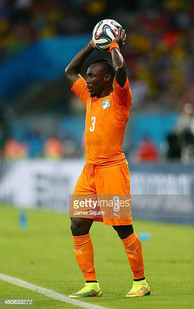 Arthur Boka of the Ivory Coast prepares for a throw in during the 2014 FIFA World Cup Brazil Group C match between the Ivory Coast and Japan at Arena...