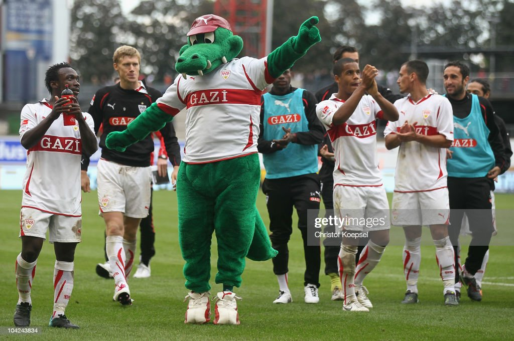 Arthur Boka, Pavel Progbrebnyak, mascot Fritzle and Daniel Didavi of Stuttgart celebrate the 7-0 victory after the Bundesliga match between VfB Stuttgart and Borussia Moenchengladbach at Mercedes-Benz Arena on September 18, 2010 in Stuttgart, Germany.