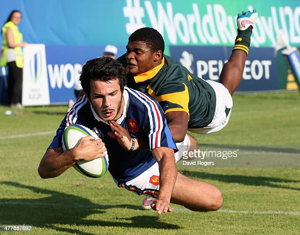 Arthur Bonneval of France evades Warrick Gelant to score the first try during the World Rugby U20 Championship 3rd Place PlayOff match between France...