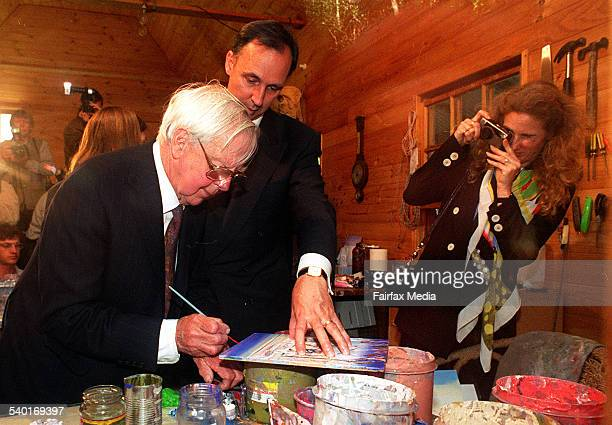 Arthur Boyd with former Prime Minister Paul Keating and then wife Annita Keating at Bundanon in 1999 3 May 1999 Illawarra Mercury Photograph by KIRK...