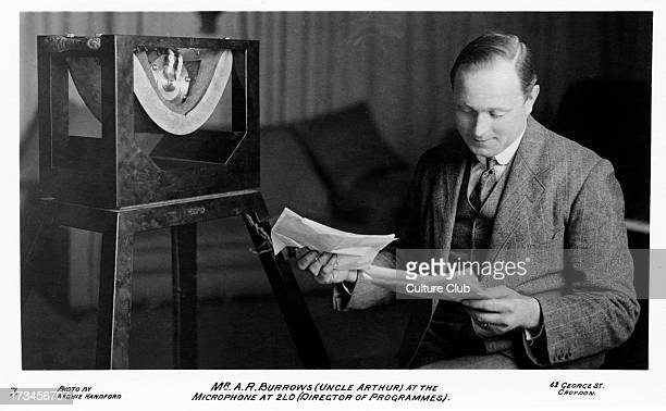 Arthur Burrows at the microphone broadcasting for 2LO. Director of Programmes for British Broadcasting Corporation . Also known as Uncle Arthur. 2LO,...