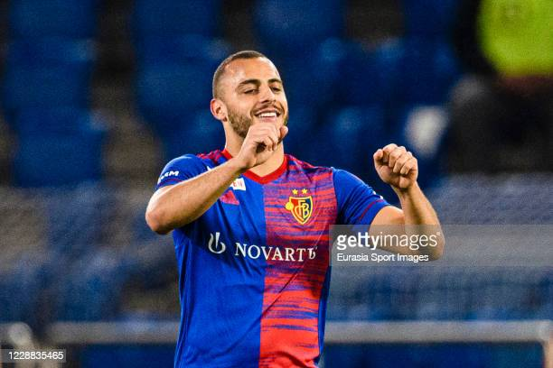 Arthur Cabral of Basel celebrates his goal during the UEFA Europa League play-off match between FC Basel and ZSKA Sofia at St. Jakob-Park on October...