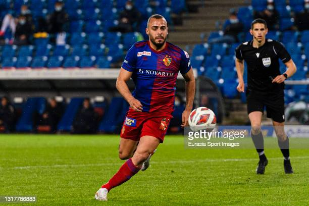 Arthur Cabral of Basel in action during the match between FC Basel 1893 and FC Lugano at St. Jakob-Park Stadium on May 11, 2021 in Basel, Switzerland.