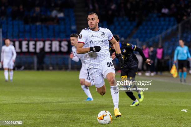 Arthur Cabral of Basel runs with the ball during the UEFA Europa League round of 32 second leg match between FC Basel and APOEL Nikosia at St...