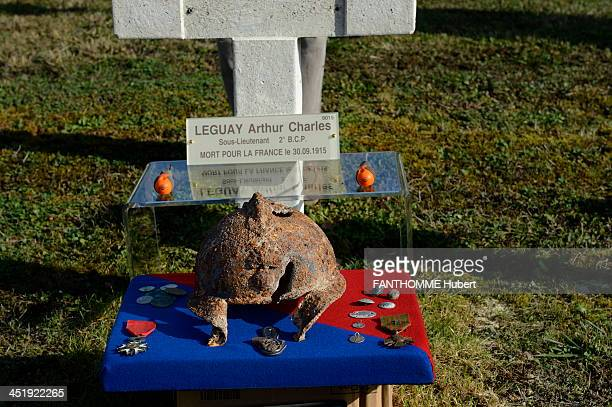Arthur Charles Legay's personal objects including a pierced helmet the Legion of Honor and the Croix de Guerre and religious medals on October 7 in...