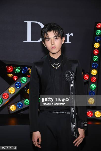 Arthur Chen poses at Dior Homme Menswear Fall/Winter 20182019 show as part of Paris Fashion Week at Grand Palais on January 20 2018 in Paris France