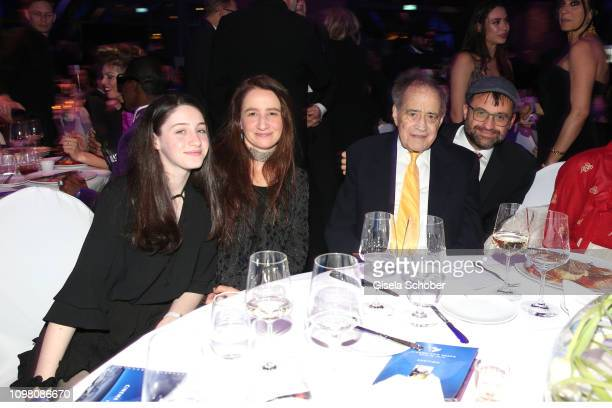 Arthur Cohn and his grand daughter Rachel Cohn , daughter Nurith Cohn,and son Emanuel Cohn during the Cinema for Peace Gala at the Westhafen Event &...