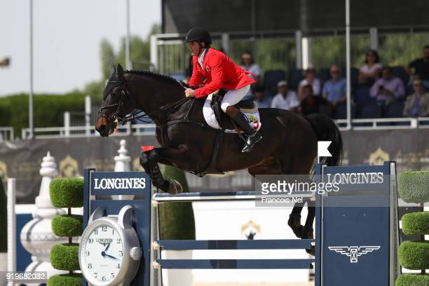 Arthur da Silva of Switzerland rides Inonstop van T Voorhof during The President of the UAE Show Jumping Cup at Al Forsan on February 17 2018 in Abu...