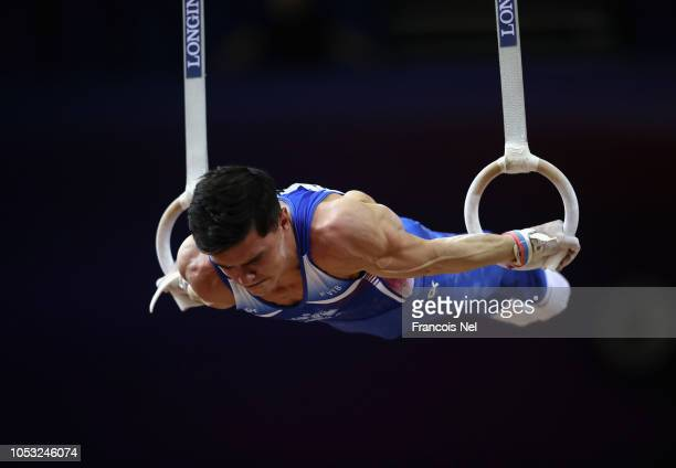 Arthur Dalaloyan of Russia competes in Men's Rings Qualification during day one of the 2018 FIG Artistic Gymnastics Championships at Aspire Dome on...