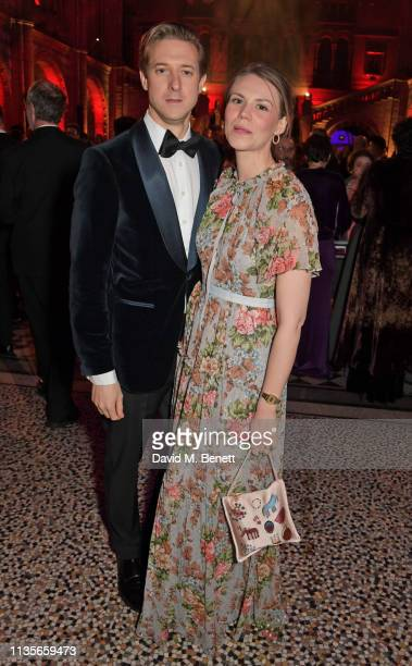 Arthur Darvill and Ines de Clercq attend The Olivier Awards 2019 after party at The Natural History Museum on April 7 2019 in London England