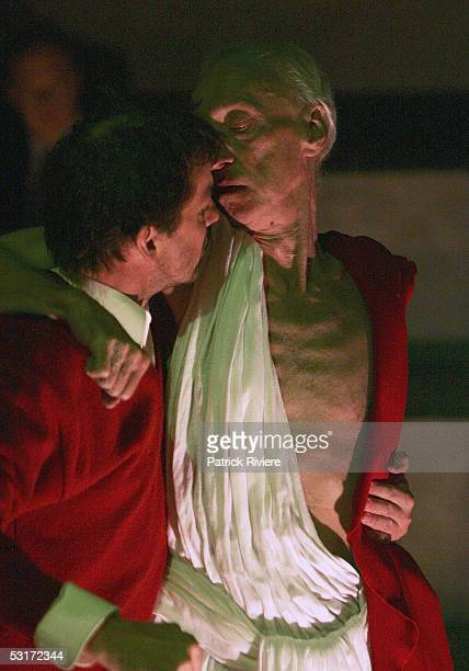 Arthur Dignam and Robert Menzies perform during a photo call for William Shakespeare's Julius Caesar at the Wharf1 Theatre on June 30 2005 in Sydney...