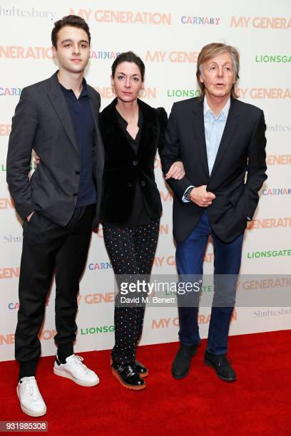 Arthur Donald Mary McCartney and Sir Paul McCartney attend a special screening of 'My Generation' at the BFI Southbank on March 14 2018 in London...