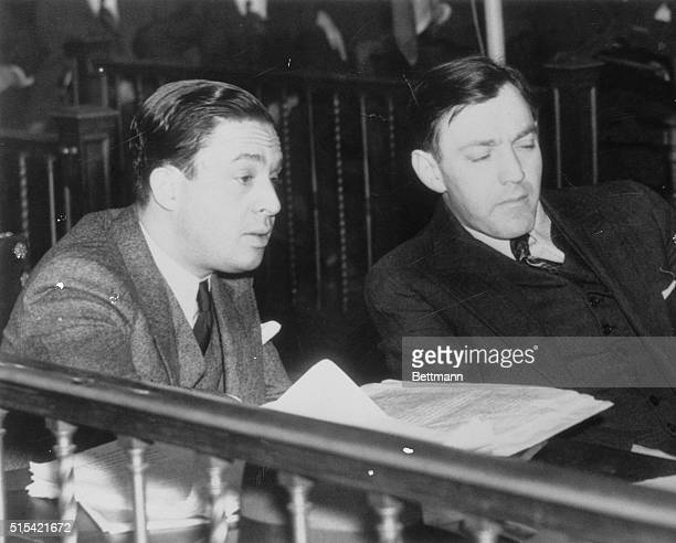Arthur Dutch Shultz Flegenheim and his lawyer J Richard Dixie Davis are pictured here in court where he met with a week's delay on his fight against...