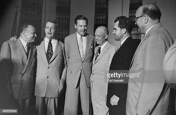 Arthur E. Summerfield, Everett M. Dirksen, Henry Cabot Lodge Jr., Dwight D. Eisenhower, Richard M. Nixon and Leonard W. Hall, conferring on Repub....